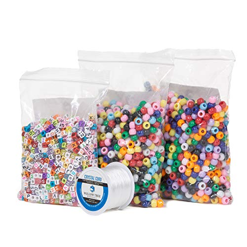 Pony Beads Bundle | 2000 Multi-Color 6x9mm Pony Beads and 1000 6x9mm Full Alphabet (4 Color Variations Included) Letter Beads | Resealable Bags | with Bonus 164 ft Jewelry Cord (Tree Bead Frame)
