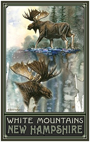White Mountains New Hampshire High Stepping Moose Travel Art Print Poster by Dave Bartholet (24