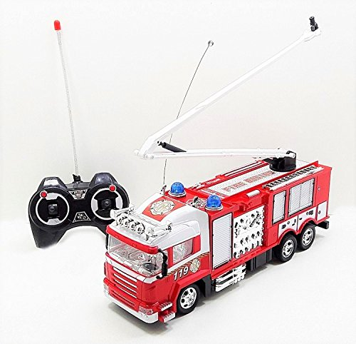 RC Fire Truck Ready To Run Rescue Engine Radio Remote Control With Music and Flashing Lights,Rechargeable Battery
