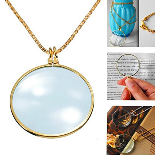 Necklace with 1-3/4 Inch Optical Magnifier Lens and 36-Inch Gold Chain for Library, Reading Fine Print, Zooming, Increase Vision, Jewelry (Gold) - Diy Superman Costumes