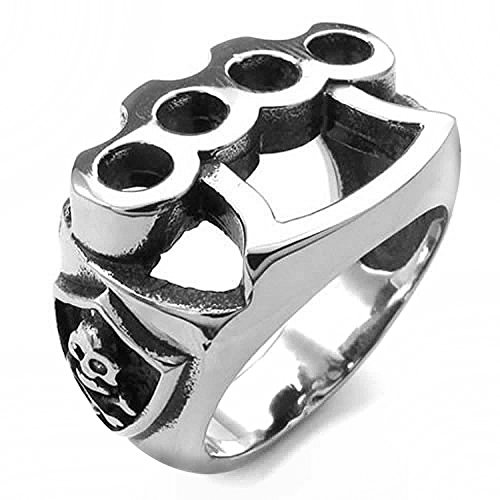 MENDINO Men's #9 Jewelry - 316L Stainless Steel Ring Skull Boxing Glove Silver Black with a Velvet Bag