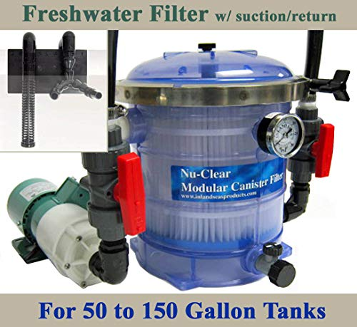 Freshwater 50-150G Tank Nu-Clear Filter, Iwaki Pump, Plumbing & Over The Back Suction/Return Conversion Bundle
