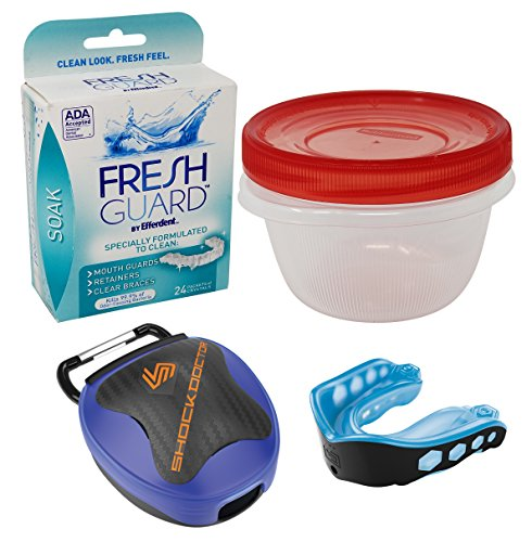 Mouth Guard Retainer Cleaner Bundle with Case - 1 Shock Doctor Gel Max Mouth Guard, 1 Case, Efferdent Cleaning Crystals, Rubbermaid Cleaning Storage Container (Blue, Youth) by Sport and Hound (Image #2)