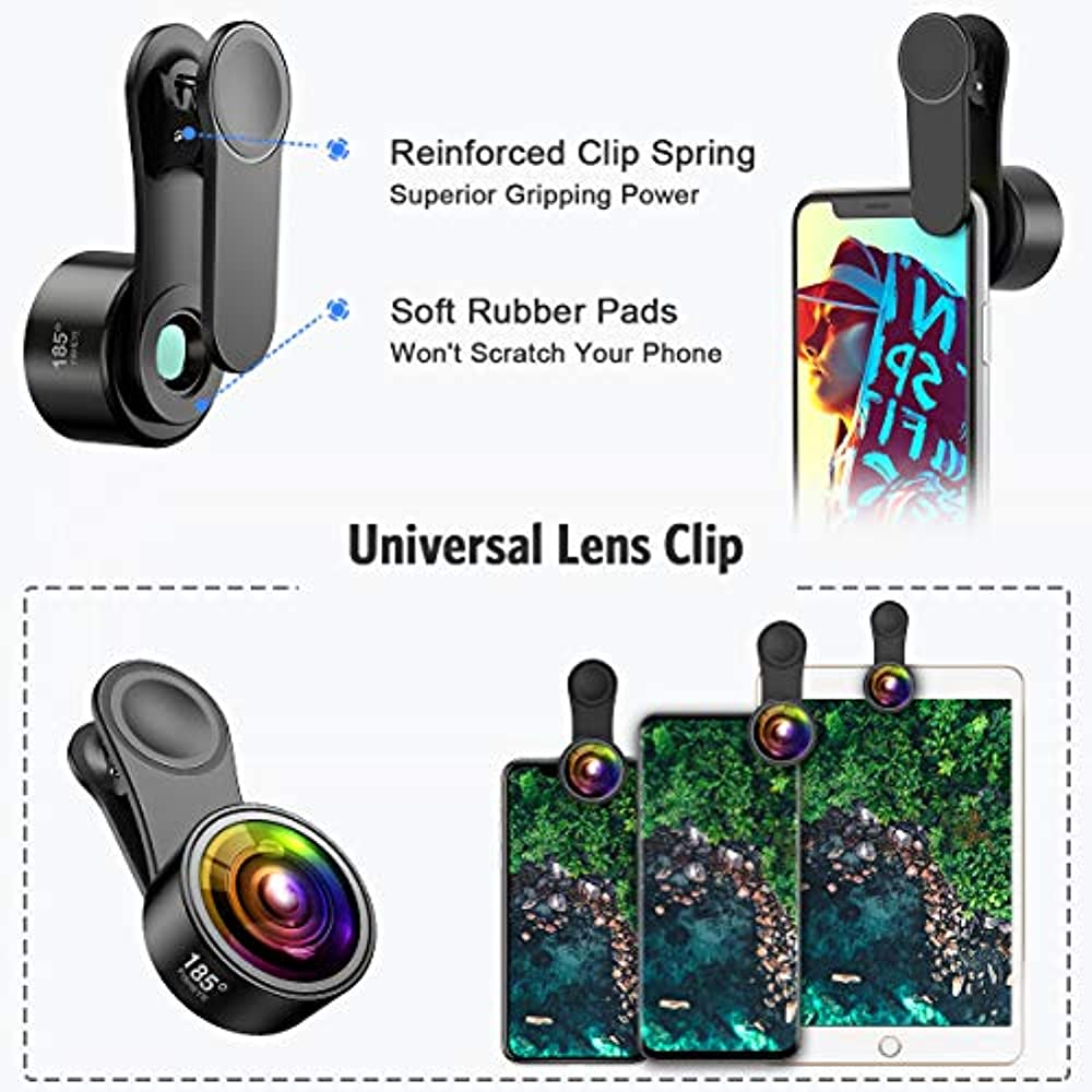 Phone Camera Lens 7 Plus 15X Macro Lens for iPhone 8 Upgraded Version and Most Smartphones 185/°Fisheye Lens 3 in 1 HD Phone Lens Kit for iPhone X Criacr 0.6X Wide Angle Lens