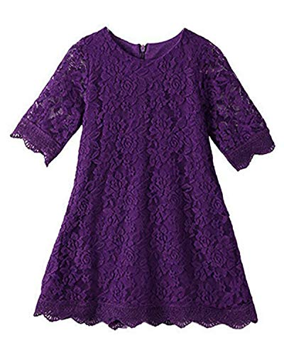 CVERRE Flower Girl Lace Dress Country Dresses with Sleeves 1-6 7-16 (150, Purple) ()