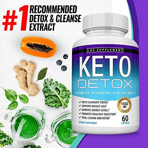Keto Detox Pills Advanced Cleansing Extract – 1532 Mg Natural Acai Colon Cleanser Formula Using Ketosis & Ketogenic Diet, Flush Toxins & Excess Waste, for Men Women, 60 Capsules, Lux Supplement 3