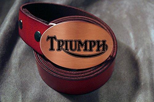 TRIUMPH MOTORCYCLE Etched Metal Belt Buckle