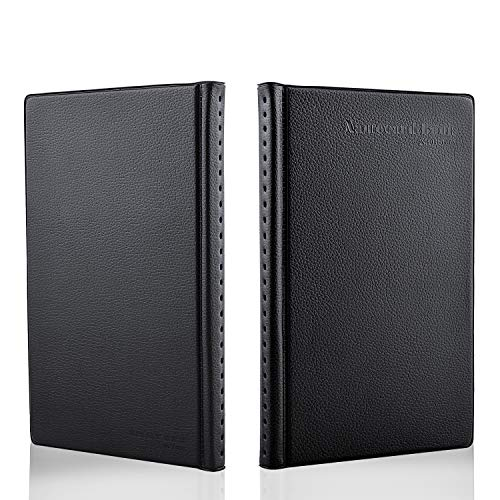 MaxGear Business Card Book Holder, Journal Business Card Organizer, Professional PU Leather Name Card Book Holder, Office Business Card Holder - Hold 240 Cards Black