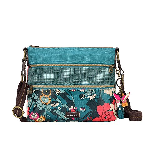 Sakroots Basic Crossbody Bag (Teal Flower Power)