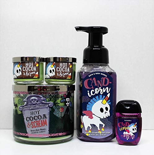 - Bath and Body Works 5 pc Bundle Hot Cocoa & Cream 3-Wick scented candle (2) Mini Candle, with Cand-icorn Foaming hand soap and PocketBac