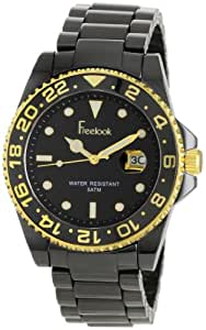 Freelook Unisex HA5109G-1 Lagon Black Ceramic with Gold Accents Black Dial Watch