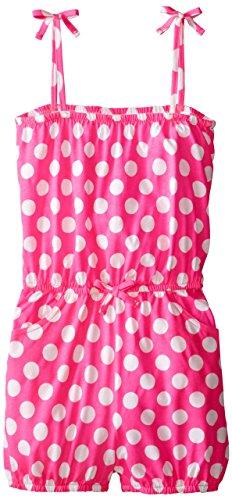 Jantzen Big Girls'  Polka Dot Romper Cover Up, Hot Pink, (Jantzen 2 Piece)