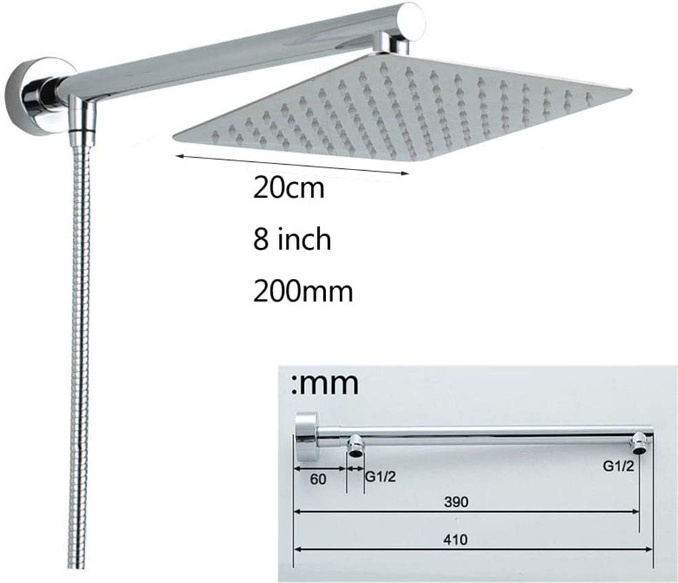 20cm Quadrat Regendusche  Edelstahl Duschkopf mit Duscharm 150cm Schlauch
