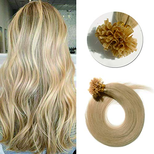 Pre Bonded U Tip Hair Extensions Human Hair 100 Strands Keratin Fushion Nail Tip Human Hair Extensions 100% Real Remy Hair Silky Straight #24 Natural Blonde 22 inches 50g