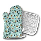 Southwest AnimalsTipi Teepee Cactus Raccoon Arrows Oven Mitts of Quilted Cotton Lining - Heat Resistant Kitchen Gloves,Flame Oven Mitt Set