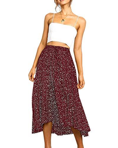 Womens Casual High Waisted Polka Dot A-Line Pleated Midi Vintage Skirts
