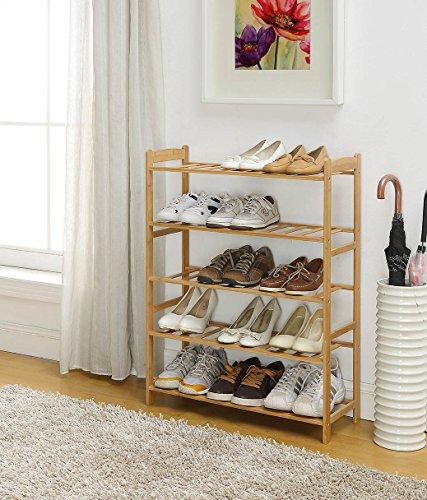 100% Natural Bamboo Wood 5-Tier Shoe Storage Racks Shelf Organizer with Slats (Wood Slat Shelves)