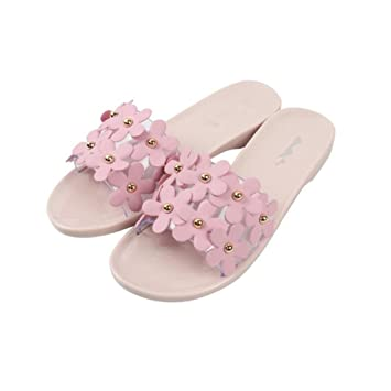 Summer Women Flower Flat Slide On Sandals Slip Resistant Beach Slippers Sandal