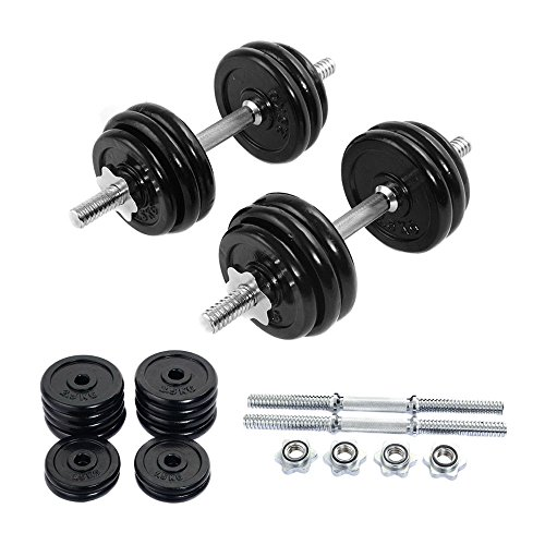 66 LB Weight Dumbbell Set Adjustable Cap Gym Barbell Iron Plates Body Workout by Generic