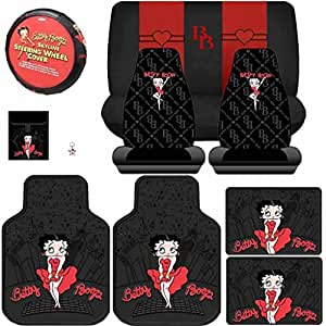 Amazon Com 11pcs Betty Boop Skyline Floor Mats Seat Covers Bench Cover Steering Wheel Cover