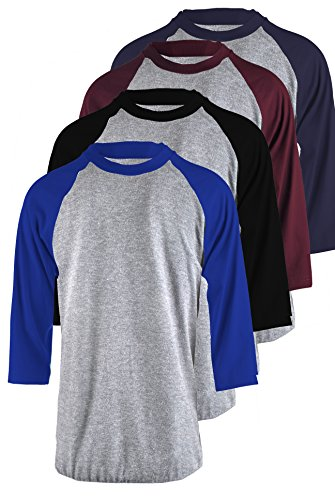 - TL Men's 4 Pack 3/4 Sleeve Baseball Cotton Crew Neck Raglan Tee Shirts S To 3XL - Large