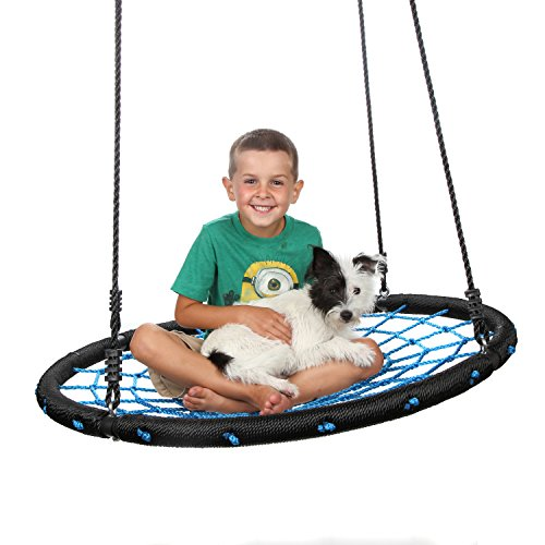 Outdoor Spider Web Tree Swing for Adults & Children - Backyard Net Swing Kit with Premium Comfort Safety Netting - Perfect 2 Person Spider Web Swing for Adult & Toddler - Guaranteed to Last Outside by Mommy Please