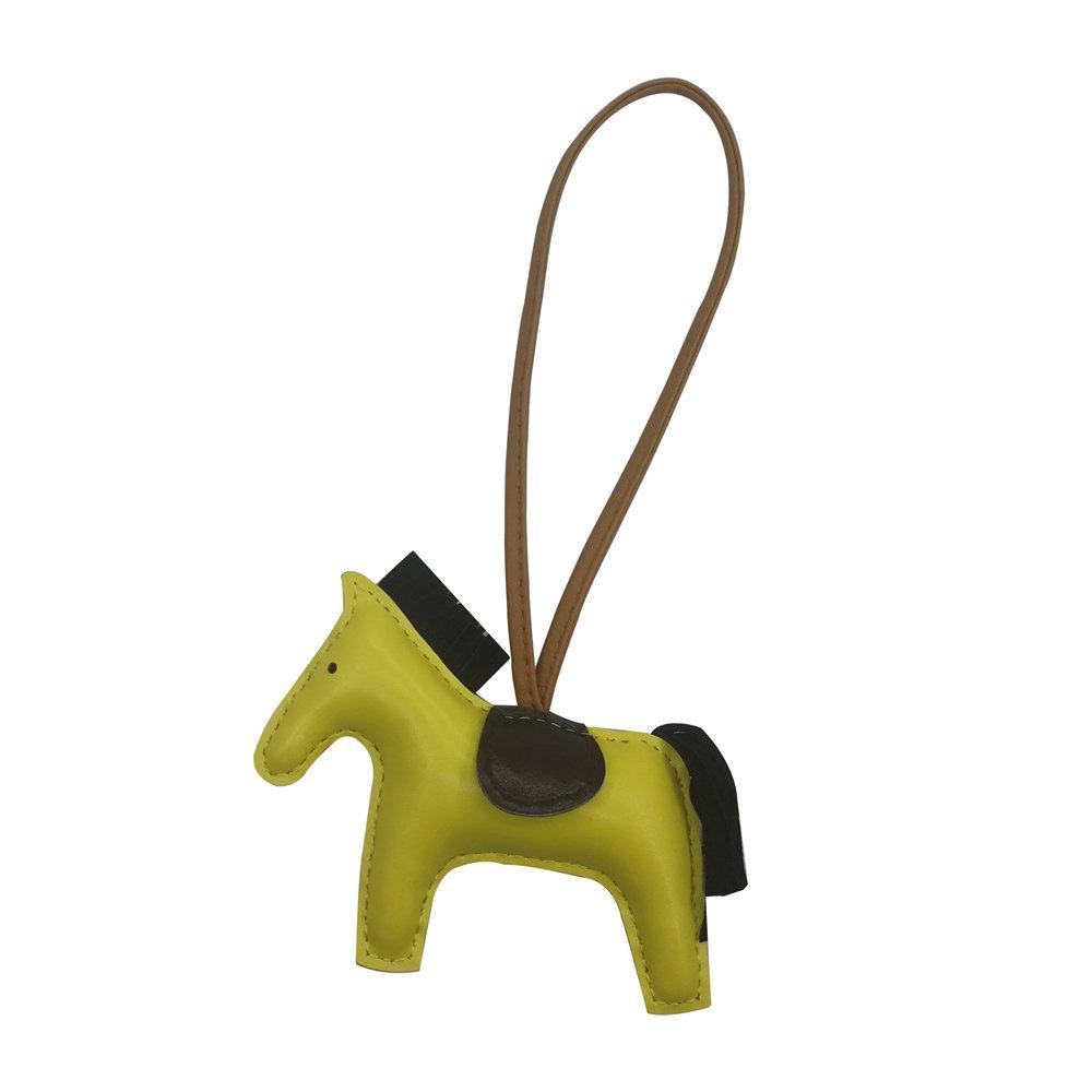 Horse Key Chain Bag Charm Women Handbags Purse Rodeo Charm Accessories Pony Car Keychain(yellowbrown)
