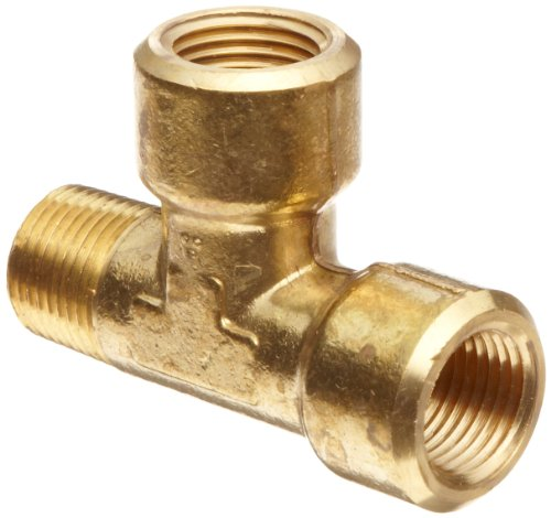 Brass Male Run Tee - Anderson Metals Brass Pipe Fitting, Forged Street Tee, 1/4