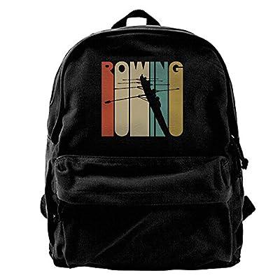 a93311102356 Vintage Style Rowing Silhouette Canvas Backpack Travel Rucksack Backpack  Daypack Knapsack Laptop Shoulder Bag durable modeling