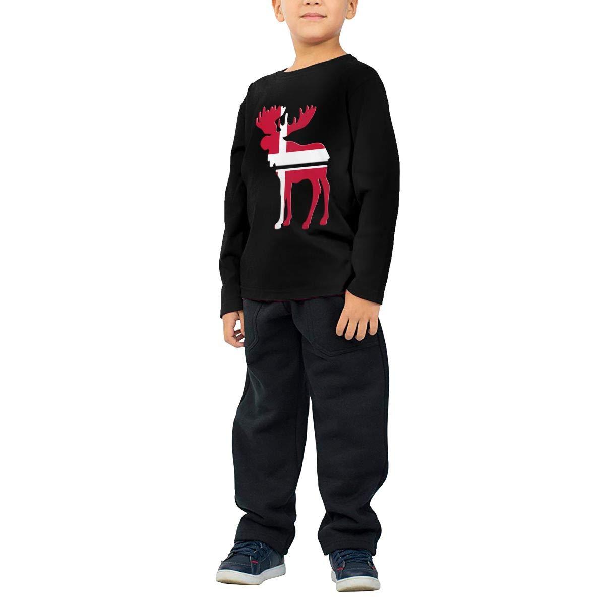 Fryhyu8 Newborn Kids Moose Denmark Flag Printed Long Sleeve 100/% Cotton Infants T Shirts