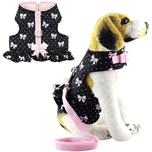Dog Harness Dress Set - Bolbove Pet Cute Bowknot Dots Vest Harness and Leash Set for Cats Dogs Black (Medium)