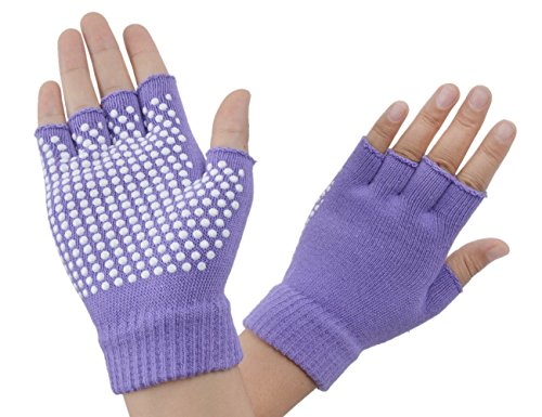 SUNLAND Yoga Pilates Gloves Non-Slip Grip with Silicone Fingerless for Training and Workouts One Pair Grape
