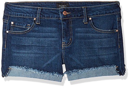 Celebrity Pink Jeans Women's 3″ Mid Rise Fray Cuff Denim Short