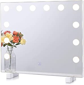 Chende Dimmable Lighted Vanity Mirror for Wall with 3 Color Changing, Frameless Bathroom Mirror with Lights, Hollywood Light up Makeup Mirrors for Bedroom Vanity, Wall Mounted or Tabletop