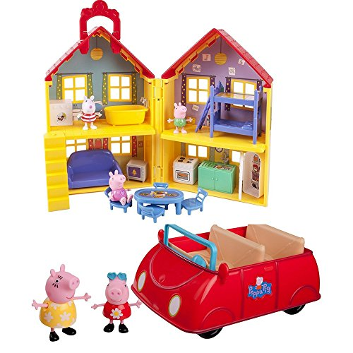 2 LOT Pepa Pig Bundle: Peppa Pig's Deluxe House with and Peppa Pig's Red Car (Danny Castle Halloween)