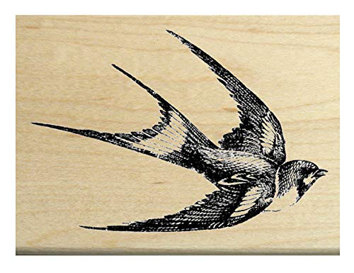 P22 Swallow Bird Rubber Stamp Flying Right ()