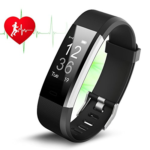 JKFIT ID115 HR PLUS Fitness Tracker Big OLED 0.96''Screen Fitness Tracker Pedometer Smart Band Heart rate monitor For Android & IOS Phone (Black)