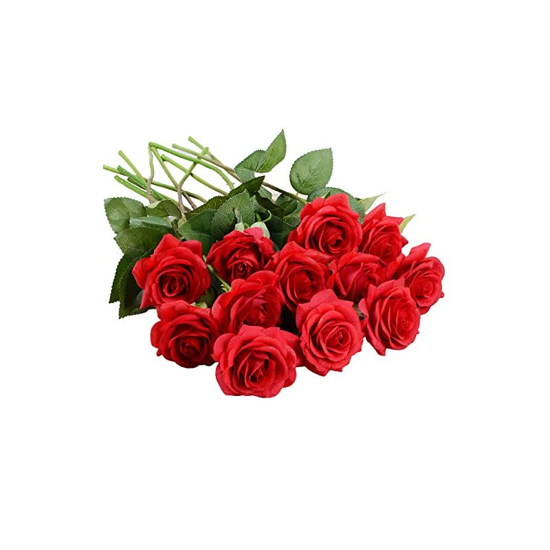 silk flower arrangements lvydec artificial flowers silk rose flowers - 12 pcs red roses fake flowers real touch bridal wedding bouquet for home wedding decoration garden party floral decor