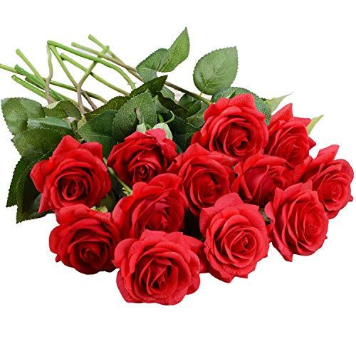Lvydec Artificial Flowers Silk Rose Flowers - 12 Pcs Red Roses Fake Flowers Real Touch Bridal Wedding Bouquet for Home Wedding Decoration Garden Party Floral -
