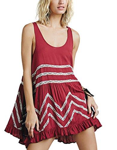Bessla Women's Lace Stitch Cotton Asymmetrical Hem Party Summer Beach Midi Dress
