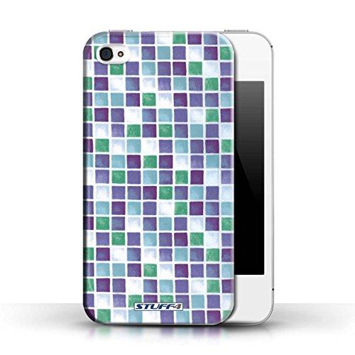 Etui / Coque pour Apple iPhone 4/4S / Violet/Vert conception / Collection de Carreau Bain