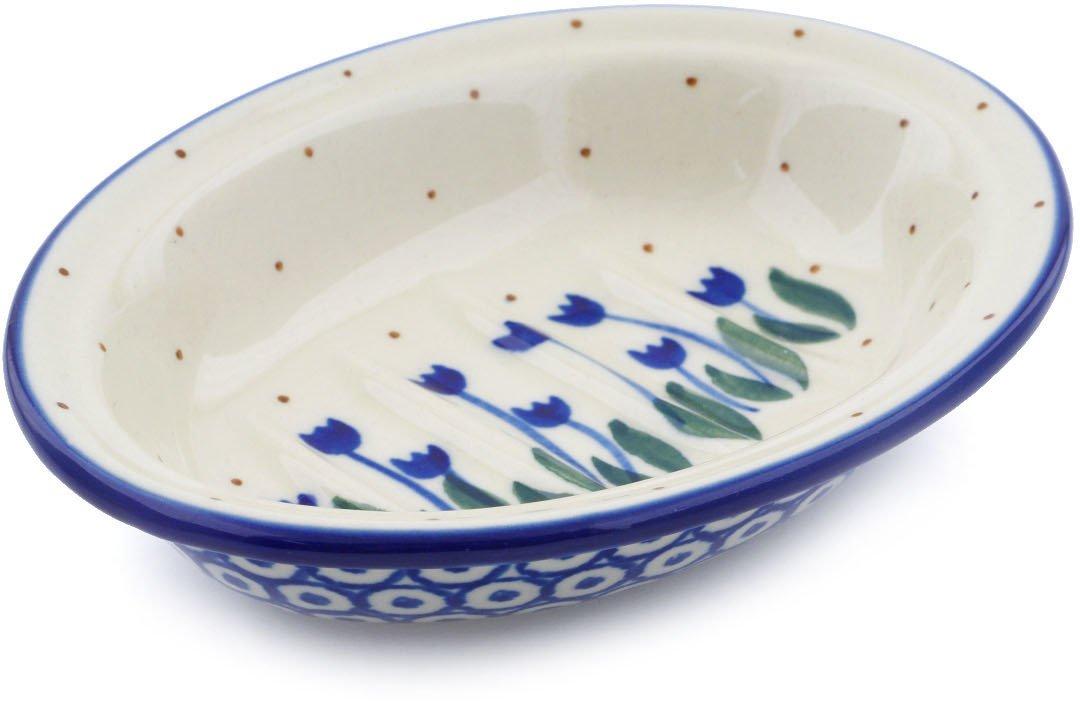 Polish Pottery 5½-inch Soap Dish made by Ceramika Artystyczna (Water Tulip Theme) + Certificate of Authenticity by Polmedia Polish Pottery