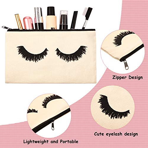 18 Pieces Eyelash Cosmetic Bags Canvas Lash Makeup Bag Travel Make up Pouches Toiletry Bag with Zipper for Women and girls (S, Beige)