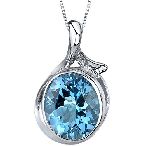 Boldly Colorful 5.25 carats Oval Cut Sterling Silver Rhodium Nickel Finish Swiss Blue Topaz Pendant