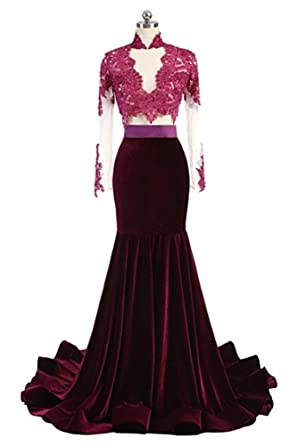 DreHouse Womens 2 Pieces High Neck Mermaid Prom Dresses Velvet Party Gowns