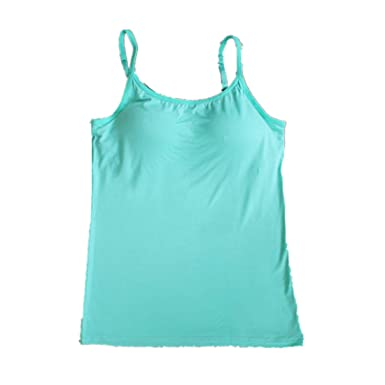 3c502d709e6fb BIFINI Women s Adjustable Padded Bra Camisole Top Sleeveless T-Shirt Colors  Absinthe Green Small