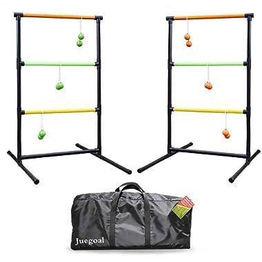 Juegoal Upgrade Ladder Toss Game Set Ladder Ball Game 6 Bolas, Carrying Case Indoor Outdoor Yard Beach