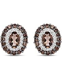 Genuine Smoky Quartz and White Topaz .925 Sterling Silver Brown Non-Clip-On Earrings