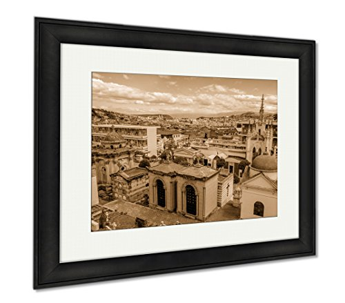 Ashley Framed Prints San Diego Cemetary In Old Part Quito Showing Great Overview Of City, Wall Art Home Decoration, Sepia, 26x30 (frame size), Black Frame, AG6522703 by Ashley Framed Prints