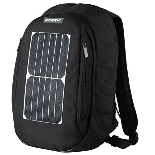 Laptop Backpack, Book School Bag +7 Watts Waterproof Solar Panel Charger + 2000mAH Rechargeable Battery Pack For Phones / Holds Laptops, Macbooks And Tablets Up To 14″